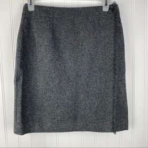 GAP Gray Wool Blend Fringe Wrap Skirt Size 6